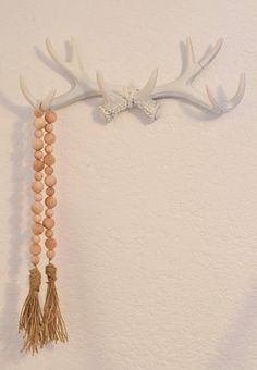 Wood Bead Garland Farmhouse Style Garland Natural Wooden