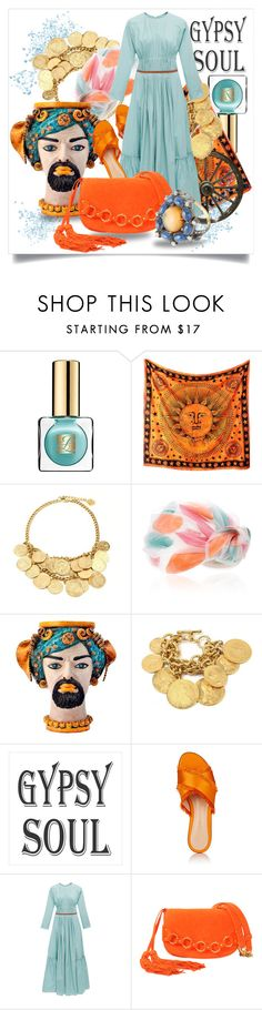 """Gypsy Soul in Aqua and Orange"" by capricat ❤ liked on Polyvore featuring Estée Lauder, WALL, Awon Golding Millinery, Sicily & More, Gianvito Rossi, Roksanda, Roberto Cavalli and Artisan"