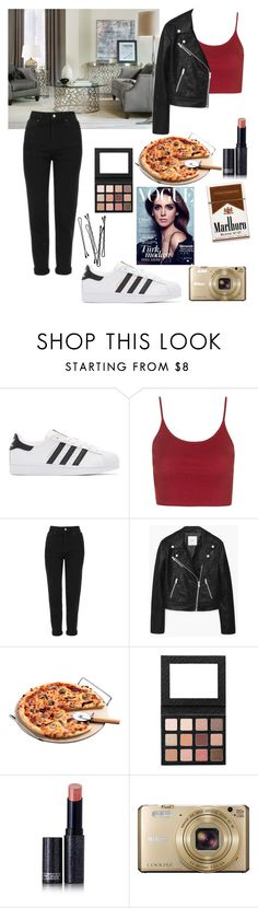 """Untitled #227"" by maria143sara ❤ liked on Polyvore featuring adidas Originals, Topshop, Hooker Furniture, MANGO, BOBBY, Lipstick Queen and Nikon"