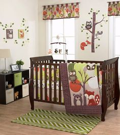 The Foxy & Friends Collection from Belle is an adorable assortment that will make your baby boy's nursery a warm, comforting place. The items feature sweet forest animals and trees, plus green, tan, orange, and brown colors.