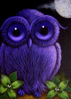 Violet owl love this color Purple Owl, Purple Hues, Shades Of Purple, Green And Purple, Deep Purple, Purple City, Purple Animals, Malva, All Things Purple