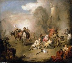 'Soldiers and Camp Followers Resting from a March', Oil On Canvas by Jean-Baptiste Pater (1695-1736, France)