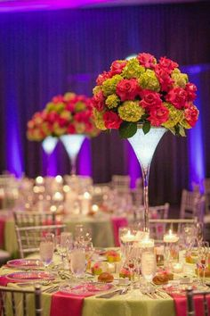 do either low centerpieces or super high centerpieces so it doesnt affect people talking to each other. kind of love how these are in a martini glass look Small Centerpieces, Wedding Centerpieces, Wedding Table, Wedding Decorations, Centrepieces, Martini Glass Centerpiece, Glass Vase, Wedding Colors, Wedding Flowers