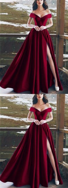 Burgundy Satin V-neck Long Prom Dresses Leg Split Evening Gowns P3101 - coffin #nails #nailscoffin #coffinnails