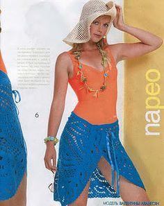 Receitas de Crochet: Saia azul para a praia