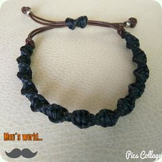 Men's black macrame bracelet with leather
