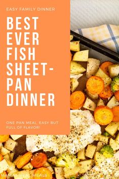 Looking for a really easy sheet pan dinner that doesn't require fancy ingredients? Check out this easy fish and veggies sheetpan dinner! On the table in less than 35 minutes! Easy Fish and Veggie Sheet pan dinner Cold Sandwiches, Easy Family Dinners, Money Saving Meals, Fish Dinner, One Pan Meals, Honey Garlic Chicken, Baked Fish, Clean Eating Recipes, Healthy Recipes