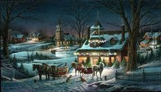 Terry Redlin - Evening Rehearsals - Complete colection of art, limited editions, prints, posters and custom framing on sale now at Prints. Art And Illustration, Illustrations, Christmas Scenes, Christmas Art, Vintage Christmas, Christmas Sleighs, Christmas Houses, Victorian Christmas, Christmas Holidays