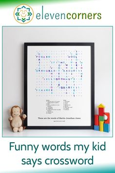 Custom crossword of the funny words your kids say along with their meanings. You send us the words and meanings, we create the design and make the print. Unique family keepsake and personalised family gift idea. #elevencorners #crosswords #funnywords #personalisedprints #giftideas #familygift