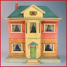 """German Two Story Wooden Dollhouse with Hand Painted Interior & Furnishings Early 1900s Small 1"""" Scale"""