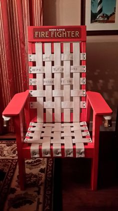 A firehouse chair I built from scratch. A firehouse chair I built from scratch. Firefighter Room, Firefighter Home Decor, Volunteer Firefighter, Fireman Room, Firefighter Training, Fire Hose Projects, Fire Hose Crafts, Fire Dept, Fire Department