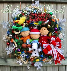 Deluxe Charlie Brown Peanuts Gang Merry Christmas Wreath  - Will NOT be Duplicated- ONE and ONLY- PreLit, Lucy ,Snoopy, Linus, Woodstock by IrishGirlsWreaths on Etsy