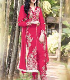 Buy Pink embroidered Georgette semi stitched salwar with dupatta party-wear-salwar-kameez online