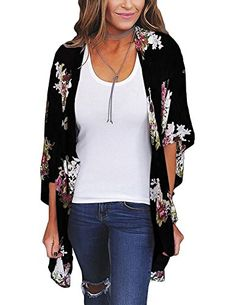 db366fc34008 Zexxxy Women Floral Print Kimono Sheer Chiffon Cardigan Half Sleeve Cover Up