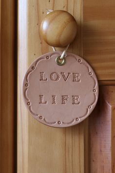 Handmade Love Life Wall Decoration by Tina's Leather Crafts on Etsy.com.  Repin To Remember.