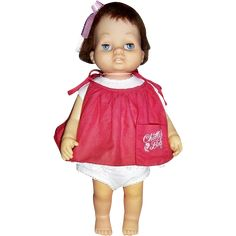 "1962 Mattel Tiny Chatty Baby Doll, 15"" Tall. Tiny Chatty Baby or Tiny Chatty Brother (1963-1964) was 15inches tall, all vinyl, white or black doll, rooted hair, sleep eyes, two upper teeth showing, wearing an aqua jumper with white bib with the doll's name embroidered on it. The doll was marked on back: Tiny Chatty Baby Tiny Chatty Brother 1962 Mattel INC. Hawthorne Calif. USA US Pat 3,017,187 Other US & Foreign Patents Pending Patented in Canada 1962."