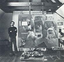 Fernando Botero y La Camara degli Sposi (Homenaje a Mantegna), obra con la que obtiene el primer premio en el X Salon de artistas colombianos.