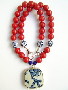 Pottery Shard Necklace, Red Necklace with Ming Blue Pendant by polishedtwo, $30.00