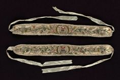 "MFA, Boston: Garter (one of a pair). French, 18th century; ~1.5x33"" with ties; silk satin with silk embroidery and silk plain-weave ribbon"