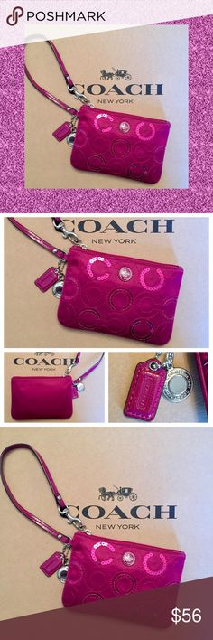 """🆕 COACH Hot Pink Sequin Signature Wristlet NWOT COACH Hot Pink / Fuchsia Sequin Satin Signature Wristlet ~ RARE!  Condition: NWOT, Never Used Measures 4"""" (H) x 6"""" (L); Wrist Strap Loop Measures Approximately 6"""" Silver Tone Hardware  Fully Lined Interior With One Slip Pocket Holds """"Essentials"""" Such As 🔑💵💄💳 Carry Alone As A Wristlet Or Unfasten Dog Leash Clip & Attach To The Interior Of A Handbag Or Backpack For Easy Organization Smoke Free Home  Authenticity 💯 Guaranteed Coach Bags…"""