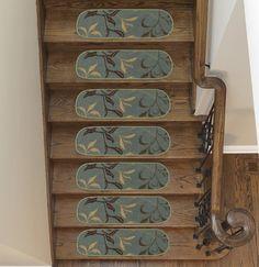 Galesburg Leaf Oval Seafoam Stair Tread