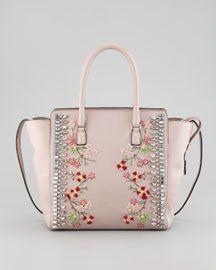 Valentino Rockstud Crystal-Embellished Tote Bag