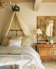 Mirrors – Home Decor : Chic French Cottage Charm : Boudoir -Read More – Dream Bedroom, Home Bedroom, Bedroom Decor, Pretty Bedroom, French Decor, French Country Decorating, Boudoir, Ivy House, French Cottage