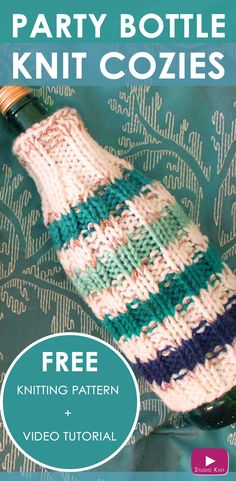 How to Knit PARTY BOTTLE COZIES with Free Knitting Pattern + Video Tutorial by Studio Knit