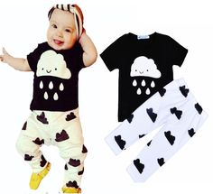 Bobo choses boy clothes set summer Cartoon Raindrop short t-shirt tops+fashion print pants kids baby boys&girl clothing set 2016