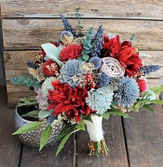 Keepsake Bridal Bouquet  ,Silk Flowers, Dahlias, Sola Flowers, Forever Bouquet, Fall Bouquet, Red Blue Slate Grey, by CuriousFloral