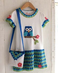Owl T-Shirt Dress, Hat and Purse Crochet Pattern