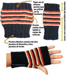 Dos agujas Knitted Headband Free Pattern, Fingerless Gloves Crochet Pattern, Fingerless Gloves Knitted, Knit Mittens, Knitting Accessories, Knitting Stitches, Hand Warmers, Knit Crochet, Crochet Patterns