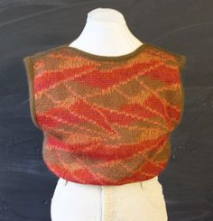 graphic knit olive & rust vest s by cheapopulance on Etsy, $25.00