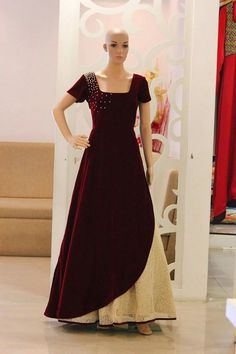 Get your fully customized outfits and made to order at your doorstep based on your choice of colour, fabric, design, occasions with express delivery worldwide. Designer Gowns, Indian Designer Wear, Designer Sarees, Indian Dresses, Indian Outfits, Indian Clothes, Simple Gowns, Churidar Designs, Gown Pattern