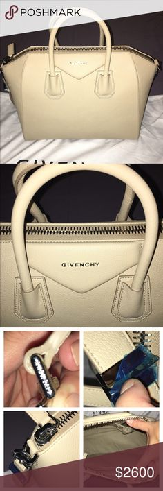 Givenchy Antigona Medium Satchel - Skin Color Brand New with Tags. Purchased from Neiman Marcus in Short Hills, NJ.                      Givenchy's Classic Antigona bag in soft Sugar pebbled goatskin leather with silvertone hardware. Beautiful Cream/light tan color. Looks different in different light.  Tote handles. Zip top; metal logo letters adorn triangular leather inset at top. Inside, tonal fabric lining; one zip pocket and two open pockets. Tonal leather panels protect base of bag…