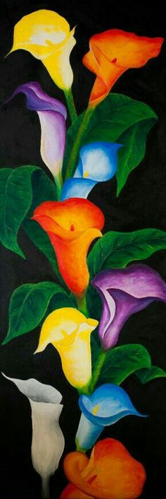 Cala Lilys in multiple colors. Please also visit www.JustForYouPro… for more colorful art you might like to pin or purchase or for painting ideas for your own paintings. Art Floral, Music Painting, Pretty Art, Calla Lily, Rainbow Colors, Rainbow Flowers, Flower Art, Watercolor Art, Beautiful Flowers