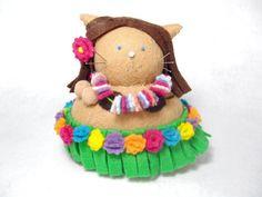 Handmade cat pincushion...Hula dancer, Dancing girl, Cat pincushion, Hawaiian decor, Cute stuffed cat, Hula dancer art, Soft sculpture, Needlecraft doll, Cat gift...by FatCatCrafts on Etsy