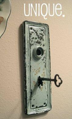 Conversation Pieces Vintage Key Plates Upcycled - Key Rack, Towel Holder, Coat Hook!