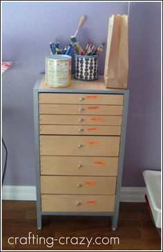 I love a good IKEA Makeover! I turned my boring office-supply-holding-thing into a lovely addition to my craft room. Mod Podge for the win!