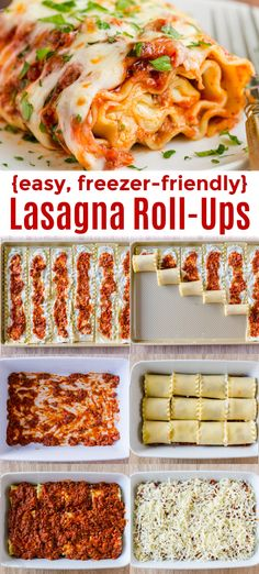 EASY and Freezer-Friendly Lasagna Roll Ups taste like classic Lasagna (super beefy, saucy and cheesy) but are much easier to serve. You can make this ahead and it reheats really well # pasta Lasagna Rolls Recipe (Lasagna Roll-Ups) Lasagne Roll Ups, Italian Recipes, Beef Recipes, Cooking Recipes, Healthy Recipes, Easy Meals For Dinner, Easy Pasta Dinner Recipes, Supper Meals, Recipies