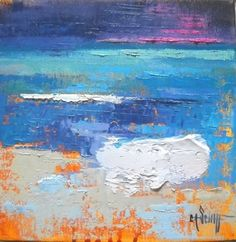 Abstract+Seascape,+C+by+Carol+Schiff,+8x8x1.5+Oil,+painting+by+artist+Carol+Schiff