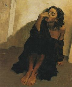 """'Michele's Thoughts' Beautiful portrait of a woman in amber hues by Greg Manchess. Oil on linen. Note the subtle, atmospheric gradient of amber to rusty red, top to bottom. ———- Long before iPhoto, hard drives and cloud storage, I collected published illustrations ripped from magazines and newspapers. I've been scanning and sharing my collection here on Tumblr and on Pinterest. I call this my """"Great Illustrators Archive."""""""