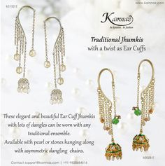#KamnazJewellery These elegant and beautiful Ear Cuff Jhumkis with lots of dangles can be worn with any traditional ensemble. Available with pearl or stones hanging along with asymmetric dangling chains.  Contact support@kamnaz.com | +91-9820684516 #dangles #dangling #earrings #jhumkis #earcuffs #earcuffjhumkis #earcuffearrings #indianjewellery #designerjewellery #traditionaljewellery