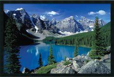 "0-028745>25x37"" Moraine Lake Banff Framed Art Gel Coated"