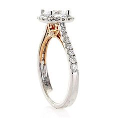 Platinum Halo Engagement Ring Setting with 18kt Yellow Gold Accents | Washington Diamond | Falls Church, VA