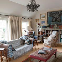 Eclectic tartan living room