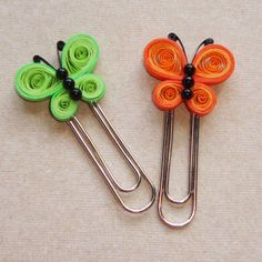 Set of 2 Quilled Butterfly Bookmark -  Green