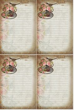 Tea cup with roses & bird Journal Cards