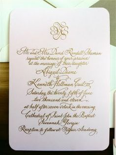 Beautiful Image of Engraved Wedding Invitations Engraved Wedding Invitations Wedding Invitations With Gold Calligraphy Engraving Emily Mccarthy Formal Wedding Invitations, Letterpress Wedding Invitations, Wedding Invitation Cards, Invitation Suite, Invites, Luxe Wedding, Wedding Fun, Wedding Bells, Perfect Wedding