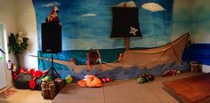 Pirate ship & back drop After Prom, Trunk Or Treat, Pirates, Backdrops, Ship, Painting, Art, Art Background, Painting Art